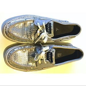 Sperry Lavender Silver Sequin Leather Boat Shoe 8